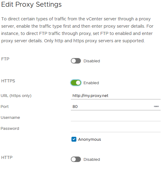 VMware VCSA Supported protocol for proxy server is HTTPS