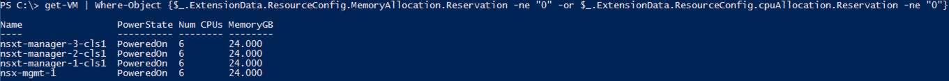 VMware PowerShell Find VMs with Memory Reservations